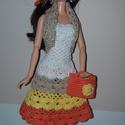 Barbie babaruha, Játék, Baba, babaház, Kézzel horgolt, narancs-sárga-drapp-fehér, csipke, pánt nélküli Barbie babaruha, drapp csipke ..., Meska