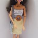 Barbie babaruha, Horgolt, halványsárga-halványkék koktélruha, ...