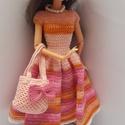 Barbie babaruha, Horgolt rózsaszín, romantikus Barbie babaruha ho...