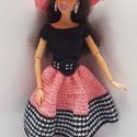 Barbie babaruha, Horgolt rózsaszín-fekete-fehér Barbie ruha, hoz...