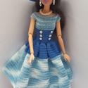 Barbie babaruha, Horgolt kék-fehér Barbie babaruha, hozzáillő k...