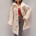 Barbie babaruha, Kötött rózsaszín-fehér Barbie télikabát sap...