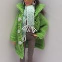 Barbie babaruha, Kötött zöld Barbie télikabát, halványzöld s...
