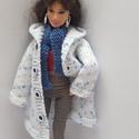 Barbie babaruha, Kötött kék-fehér Barbie télikabát sapkával ...