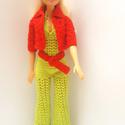 Barbie ruha, Horgolt Barbie együttes. Overall, kabátka és ö...