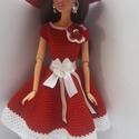 Barbie ruha, Játék, Baba, babaház, Horgolt bordó-fehér Barbie babaruha, hozzáillő kalappal. A ruha hátul tépőzárral záródik., Meska
