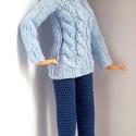Barbie babaruha, Horgolt sötétkék nadrág és kézzel kötött v...