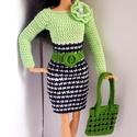 Barbie babaruha, Horgolt zöld-fekete koktélruha, hozzáillő kéz...