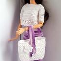 Barbie babaruha, Horgolt lila-fehér nadrág, fehér háromnegyed u...
