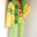Barbie babaruha, Játék, Baba, babaház, Horgolt mentazöld színű nadrág, színes csíkos top és kötött sárga-zöld kardigán Barbie típusú babána..., Meska