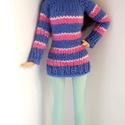 Barbie babaruha, Játék, Baba, babaház, Kötött lila-pink csíkos garbó hozzáillő bojtos sapkával és lábszárvédővel.  A szettet egy elasztikus..., Meska