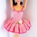 Barbie babaruha, Horgolt rózsaszín balerina ruha Barbie típusú ...