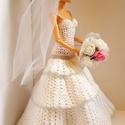 Barbie babaruha, Horgolt menyasszonyi ruha fátyollal, csokorral, t...