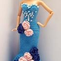 Barbie babaruha, Játék, Baba, babaház, Horgolt, sellő fazonú Barbie estélyiruha, kék pamut fonalból, felsőrészén gyöngy díszítéssel, dereká..., Meska