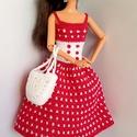 Barbie babaruha, Játék, Baba, babaház, Horgolt pink-fehér babaruha, hozzáillő kalappal és kézitáskával Barbie típusú babáknak. A ruha hátul..., Meska