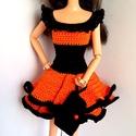 Barbie babaruha, Játék, Baba, babaház, Horgolt narancssárga-fekete babaruha, göngy díszítéssel,hozzáillő kalappal és kézitáskával Barbie tí..., Meska