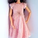 Barbie babaruha, Horgolt rózsaszín csipkeruha, gyöngy díszíté...