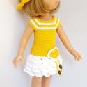 Paola Reina babaruha, Horgolt sárga-fehér babaruha, hozzáillő kalapp...