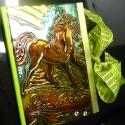 napló, emlékkönyv , Naptár, képeslap, album, Baba-mama-gyerek, Jegyzetfüzet, napló, A gyermekek szeretik a lovakat, ezért a fémbe lovat domborítottam. Az intim tartalomra a megkötött s..., Meska