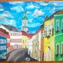 soproni utca festmény, Képzőművészet, Festmény, Akril, Festészet, furnér lemezre temperával készített élénk színekkel kidolgozott festmény. keret óarany színnel 5cm ..., Meska