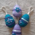 Húsvéti filc tojás dísz 4db-os, Dekoráció, Otthon, lakberendezés, Húsvéti díszek, Dísz, Húsvéti színes filc tojások, tojásfára, barkaágra. Színes filc az alapja, rajta farkasfog, s..., Meska