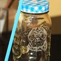 Befőttes pohár állatos portréval, Konyhafelszerelés, Bögre, csésze, Üvegművészet, Ez a 7 dl-es befőttes pohár nagyon szuper limonádékhoz és szörpökhöz :)  Fénykép vagy egyéb kép ala..., Meska