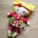 Virág baba - öltöztethető textilbaba, Baba-mama-gyerek, Játék, Baba játék, Virág baba egy szőke copfos kislány aki nagyon szeret öltözködni! Van egy fodros szonyája, hozzá ill..., Meska