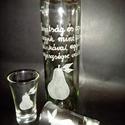 körtés pálinkás üveg 2 db pohárral , Férfiaknak, Horgászat, vadászat, Sör, bor, pálinka, Vőlegényes, Üvegművészet, Fél literes pálinkás üveg 2 db 5 cl-es pohárral. Azonos gyümölcs mintával,szöveggel, névnapra, szül..., Meska