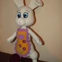Húsvéti nyuszi, Játék, Baba, babaház, Horgolás, Pamut-akril fonalból készült, 32 cm magas (+ a füle) Vatelinnel tömött, mosható nyuszi figura.  , Meska
