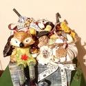 Fiókbazárt ősz asztaldisz, Dekoráció, Otthon, lakberendezés, Dísz, Asztaldísz, Fából keszult fiókban 3 db sajatkeszitesu textil tok, logó lábú róka, es termesek vannak elhelyezve ..., Meska