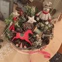 Unnepi téli box asztalra, Dekoráció, Otthon, lakberendezés, Dísz, Asztaldísz, Kisebb karton dobozban termeszetes diszek mesés hangulatban, Meska