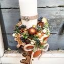 Mézeskalács karácsonyi asztaldisz, Cserepben natúr diszek gyertyával, mézeskalács...