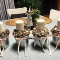 Gyertyagyújtás kicsit másképpen, Fém vödörkében dekoracio az unnepi asztalra, k...