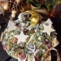 Benez a Hold az ablakon adventi asztaldisz, Dekoráció, Karácsonyi, adventi apróságok, Otthon, lakberendezés, Ünnepi dekoráció, Karácsonyi dekoráció, Asztaldísz, Fonott kosarkaban termesek diszek, Meska
