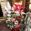Csillagos karácsonyi asztaldísz, Dobozban, kötöttben sajatkeszítesű textil csil...