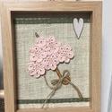 Anyáknapi ajándék textil kép horgolt virágokkal, 17x22 cm képméretben horgolt virágokbol keszult...