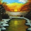 Téli napfelkelte - olajfestmény, Képzőművészet, Festmény, Olajfestmény, Falemezre készült olajfestmény, keret nélkül.  Méret: 40x50 cm, Meska