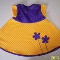 Lila-sárga kislányruha, Vidám, kényelmes ruhácska, kétféle anyag komb...