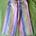 Rózsaszín csíkos lánykanadrág, Ruha, divat, cipő, Gyerekruha, Kisgyerek (1-4 év), Töbszínű csíkos férfiingből átalakított, vékony vászon gyereknadrág, 92-es méretben. Dereka körben d..., Meska