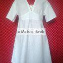 Kis fehér ruha, nyári ruha, rövid menyasszonyi ruha, moletteknek, teltkarcsúaknak, Ruha, divat, cipő, Esküvői ruha, Női ruha, Ruha, Egy rövid menyasszonyi ruha próbájaként készült ez a darab, tiszta pamut, patchwork vászonból. Fehér..., Meska