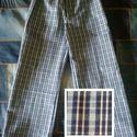 Kék-fehér kockás gyereknadrág, 122-es méret, uniszex, Ruha, divat, cipő, Gyerekruha, Gyerek (4-10 év), Uniszex gyereknadrág, 122-es méretben, kockásan szövött mintás vászonból, sötétkék-kék-fehér színöss..., Meska