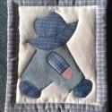 Overall Bill farmerben, Textil falikép maradék vásznakból,rátétes te...