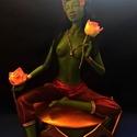 Zöld Tara szobor, Képzőművészet, Szobor, Vegyes technika, Szobrászat, Ezt a szobrot egy drót vázra dolgoztam levegőn száradó modellező anyagból. Haja gyapjúból van. Test..., Meska