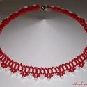 Piros - Fehér fűzött gyöngy nyaklánc, Ékszer, Nyaklánc, Telt piros és fehér kásagyöngyből fűzött nyaklánc.  Hossza 40 cm, szélessége 2 cm., Meska