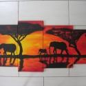 Szavanna - négy részes festmény, Dekoráció, Otthon, lakberendezés, Képzőművészet, Falikép, Festett tárgyak, Festészet, Fakeretre feszített festővászonra, művész akril festékkel festettem ezt a vidám, élénk színű afrika..., Meska