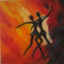 Táncosok - akrilfestmény, Képzőművészet, Dekoráció, Otthon, lakberendezés, Festmény, Latin zene, salsa, forró hangulat! 30x30 cm fakeretre feszített vászonra, művész akrilfestékke..., Meska