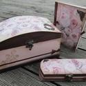 Rózsás romantikus szett, Nagyméretű íves doboz, tolltartó és füzet az...