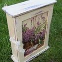 Levendulás kulcsos szekrényke,  Natur fa szekrény kapott vintage stílusú új r...