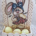 Nyuszis  tojástároló a húsvéti tojásoknak, Otthon, lakberendezés, Konyhafelszerelés, Festészet, Festett tárgyak, Kézzel festett cuki nyuszi lány őrzi a húsvéti tojásokat. Piros tojás, kék tojás - itt a helye :) :..., Meska