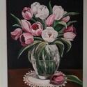 Tulipáncsokor, Dekoráció, Otthon, lakberendezés, 40 x 30 cm farostra készített akrilfestmény. Fehér kerettel.  Személyes átvétel a XX. XXIII. ..., Meska